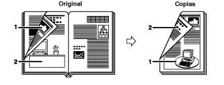 Copias  del anverso y el reverso de una hoja del libro a doble cara