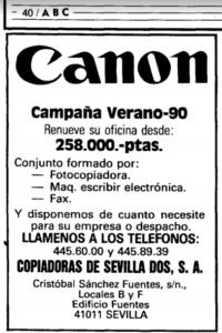 Publicidad de Canon en ABC año 90