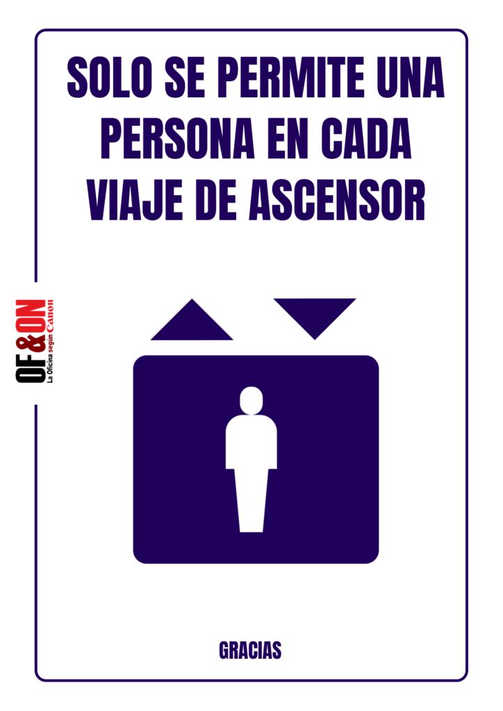 Cartel de advertencia para ascensor