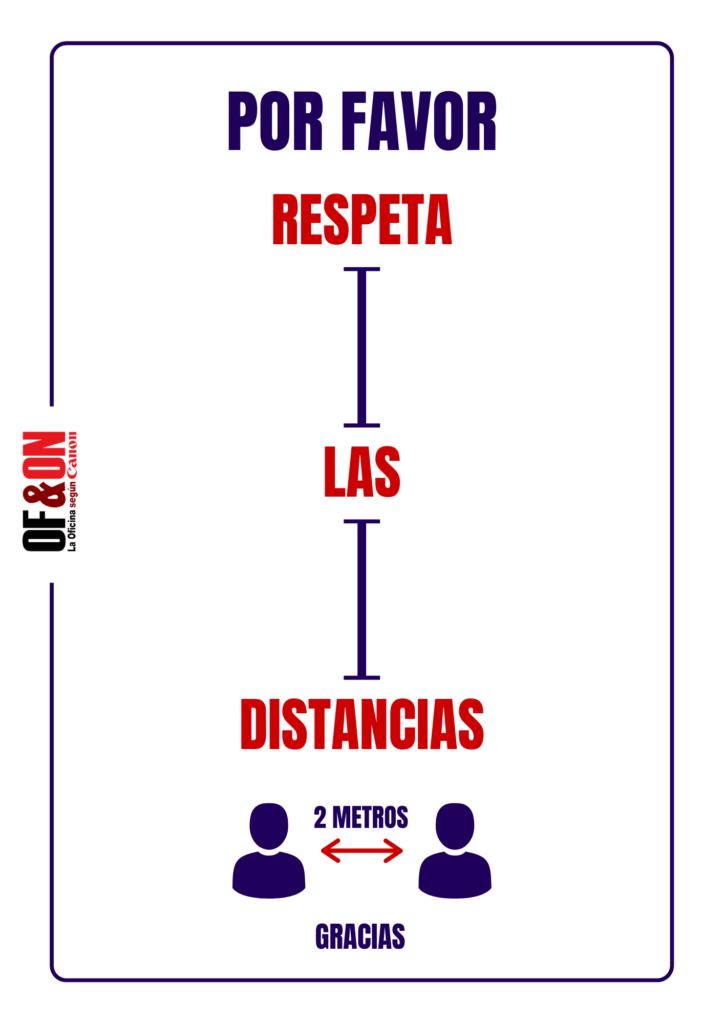 """Cartel """"Respeta la distancia"""""""