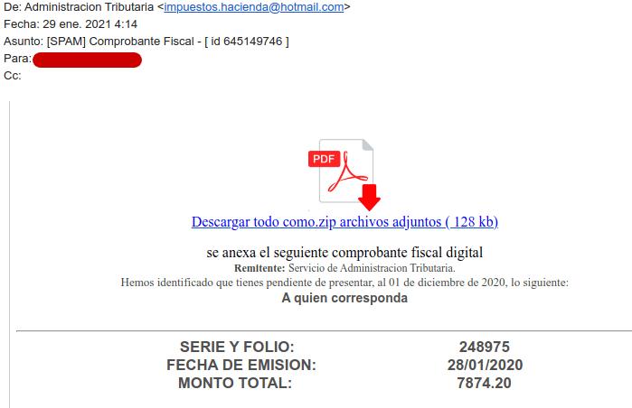 Ejemplo de correo phishing