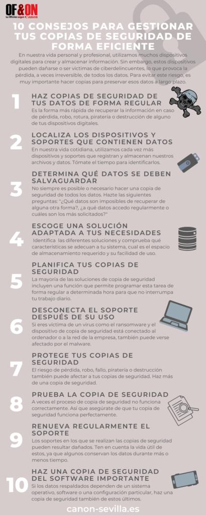 Infografía 10 consejos para gestionar tus copias de seguridad